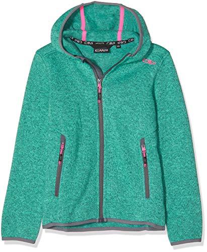 CMP Mädchen Knit Tech mélange Fleece Jacket with Hood Jacke, Aquamint, 164