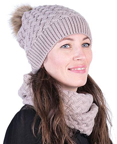 Hilltop Winter Kombi Set, bestehend aus Damen Schal und passender Strick Mütze. Bommelmütze mit Pompon in aktuellen Farbkombinationen, Winter Set:3C-hellrosa