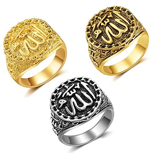 WLYX Anillo De Acero Inoxidable Religioso Musulmán De Oración De Fe De 3 Piezas, Anillo De Escritura Religiosa Árabe, Accesorios De Joyería para Hombres Y Mujeres, Regalos (Color : 3PCS, Size : 8#)