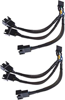 KESOTO 1 to 3 PWM Fan Splitter Cable Y Adapter 4 Pin Power Supply Cord Converter, for PC Computer Motherboard Interface Ex...