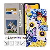 iPhone XR Wallet Case, MagicSky iPhone XR Case,Premium PU Leather Flip Folio Case Cover with Wrist Strap, Card Holder,Cash Pocket,Kickstand for Apple iPhone XR 6.1 inch - Butterfly Over Flowers