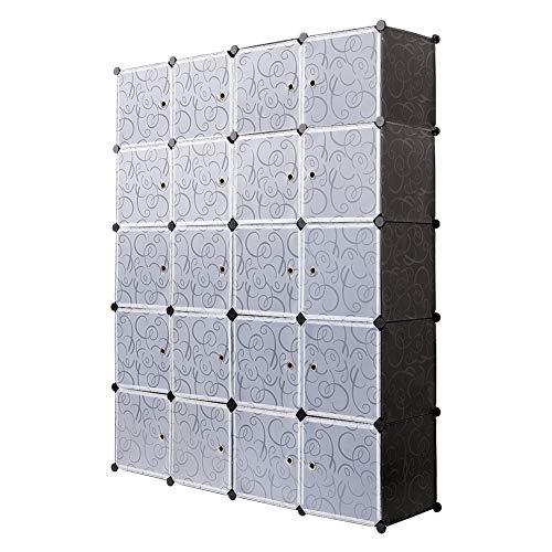 Meerveil Armoire Penderie Portable, Étagère de Rangement, Cubes de Stockage Modulaire en Plastique en métal Stable, Assemblage Facile pour Vêtements, Accessoires, Jouets (Noir, 20 Cubes)