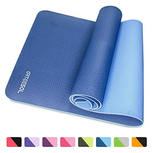 arteesol Colchoneta de Yoga, colchoneta de Ejercicios Gruesos y Antideslizantes para Ejercicios de Pilates y Ejercicios de Piso (Azul)