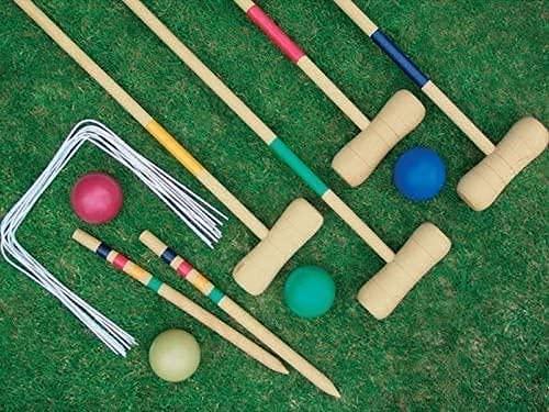 HTDHS 4 Player Complete Jardín de Madera Croquet Set Mallet Balls Juguete Diversión