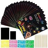 Scratch Art Bambini,110 pezzi Fogli arcobaleno da grattare Fogli di disegni scratch Rainbow scratch,con 11 Bamboo Sticks e 8 Disegno Stencil Righelli