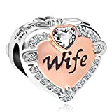 CharmSStory Rose Gold Wife Heart Love Beads Charms for Bracelets & Necklaces (White)