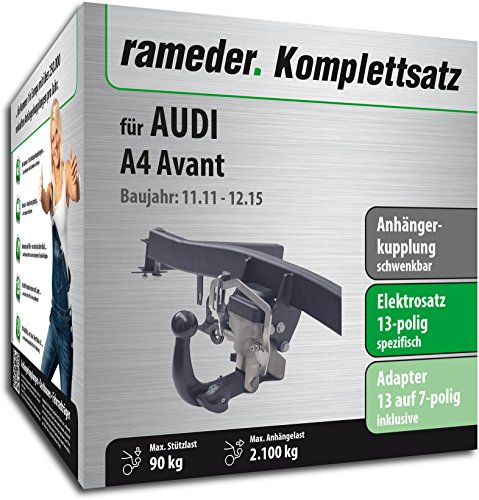 Rameder Komplettsatz, Anhängerkupplung schwenkbar + 13pol Elektrik für AUDI A4 Avant (112736-06988-5)