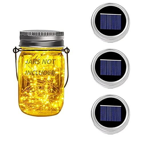 3 Pack Solar Mason Jar Deckel Fee Mason Solar String Licht Deckel Festival Garten Terrasse Hinterhof Hochzeit Party Decor LED Solar Lights