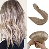 Fshine Tape Hair Extensions Real Human Hair 14 Inch Blonde Highlighted Human Hair Tape In Hair Extensions Color 18 Ash Blonde Highlight 22 Blonde Glue On Remy Hair Extensions 20 Pcs 50 Grams