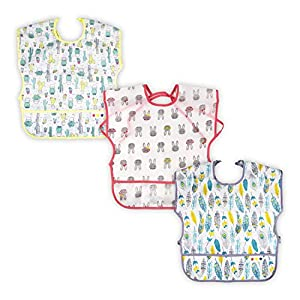 3 Pack Baby & Toddler Waterproof Bib Short Sleeve Feeding Bibs Smock Set for Girl Boy with Pocket & Food Crumb Catcher | Stain and Odor Resistance | 12 Months – 36 Months