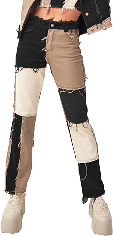 Women Patchwork Jeans Color Block Patch Raw Hem Denim Pants Colorblock High Waist Straight Pencil Jean Trousers