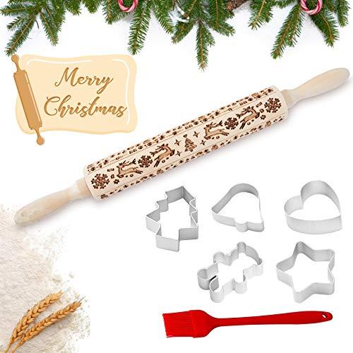 Octoegg Weihnachten Präge Nudelholz, Nudelholz mit Muster Teigroller mit Muster 3D, Nudelhölzer aus Holz mit Präge-Schneeflocken-Rentier-Weihnachtsbaum, Backzubehör für hausgemachtes Backen