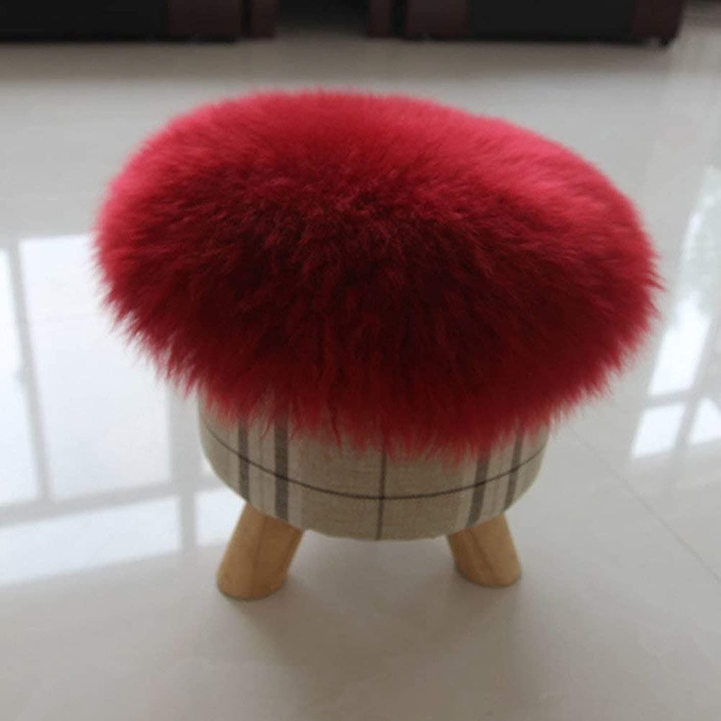 LingGT Pure Color Plush Large Mirrors,Futon Sofa Cushions of Padding Round Seat Stool Fluffy Shaggy-Red Wine 120X120Cm(47X47Cm) (Color : -, Size : -)