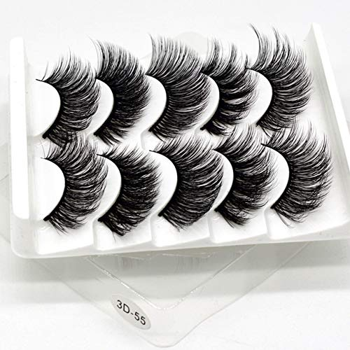KADIC 5Pairs 3D Vison Cheveux Faux Cils Naturel/Épais Long Cils Longs Brumeux, Mélange 3D-55, 10-15MM