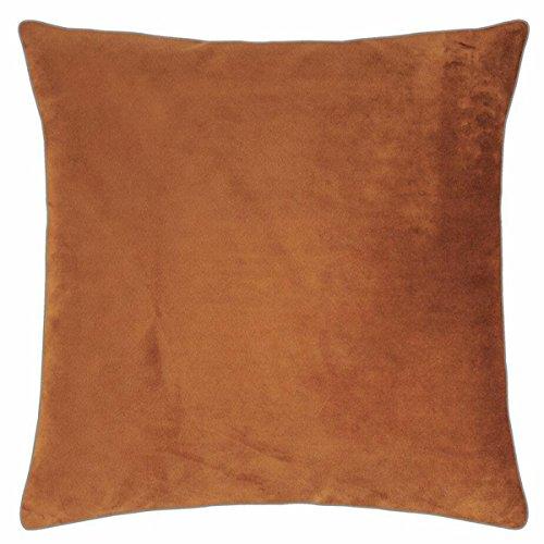 pad - Elegance - Samt Kissen, Zierkissen, Kissenhülle - 50 x 50 cm - Farbe: Cognac Braun - ohne Füllung