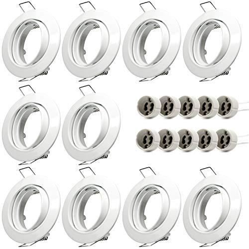 Juego de 10 marcos de montaje GU10, color blanco, orientables, redondos, incluye portalámparas GU10 para bombillas LED o halógenas