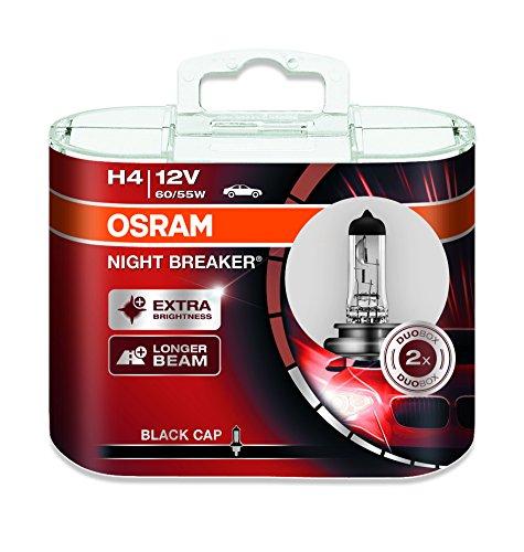 Osram NIGHT BREAKER H4, Halogen-Scheinwerferlampe, 64193NB-HCB, 12V, Duobox (2 Stück)