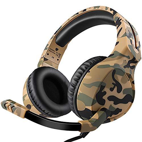 Dxnbikt Gaming Headset Kopfhörer Over Ear mit Mikrofon für PS4 Xbox One PC Mac Computer Laptop Phones 3.5mm Wired Rauschunterdrückung Stereo Sound On-Ear-Kopfhörer (Gelb)