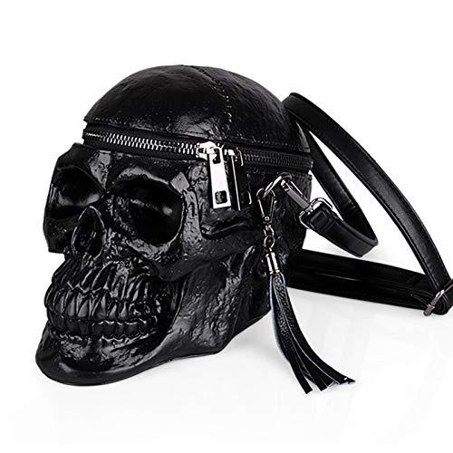 Crazyfly Bolsa de hombro con forma de calavera, gótico, bolsa cruzada con cremallera, para disfraz de fiesta de Halloween