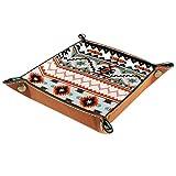 Bandeja de valet, organizador de escritorio, caja de almacenamiento, cuero, colorido, patrón floral azteca, bandeja de recogida para uso doméstico
