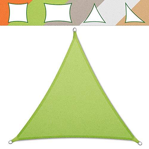 casa pura® Sonnensegel wasserabweisend imprägniert | Testnote 1.4 | Dreieck gleichseitig | UV Schutz Größen (hellgrün, 3x3x3m)