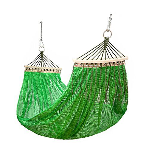 YSNUK Hamacas Hamaca al Aire Libre, Viaje Camping Mesh Hielo Seda Transpirable Ligera Hamaca Doble Camping Hamaca, Fuerte, Bolsa de Viaje (Color : Green)