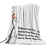 T&H Home Artistic Blanket, Freehand Cute Cat in The Stripe Hat Print Soft Flannel Fleece Bedding Blanket for Couch, Throw Blanket for Cover Men Women Aults Kids Girls Boys 40'x50'