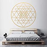 Sri Yantra Patrón Vinilo adhesivo de pared Geometría Sagrada Calcomanía extraíble Salón Salón Dormitorio Decoración 57x57cm