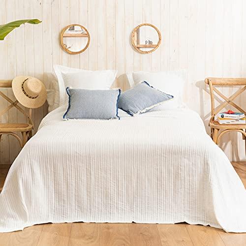 LA MALLORQUINA Colcha de Piqué - Adela (Cama 135 cm - 230x260cm - Blanco) | Colchas de Lujo y Diseño de Algodón