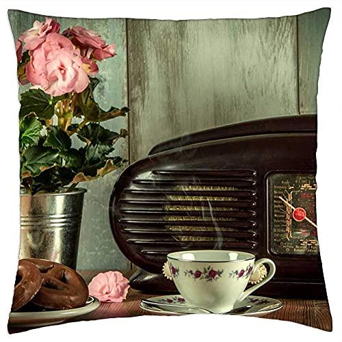 N\A Funda de cojín Vintage Retro Radio an Antique Museum Still Life