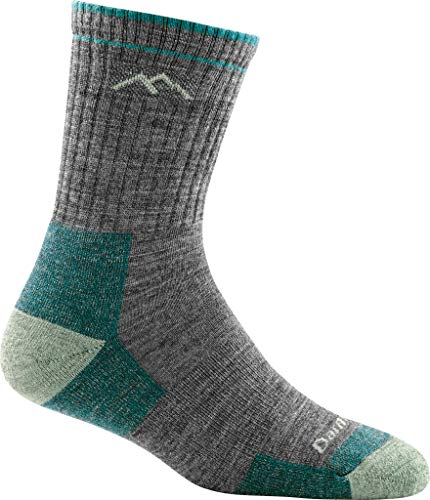 Photo of a gray and blue colored Darn Tough Hiker Micro Crew Midweight Sock