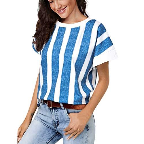 IFOUNDYOU Frauen lösen Patchwork Casual Knopf Kurzarm Bluse T-Shirt Tops