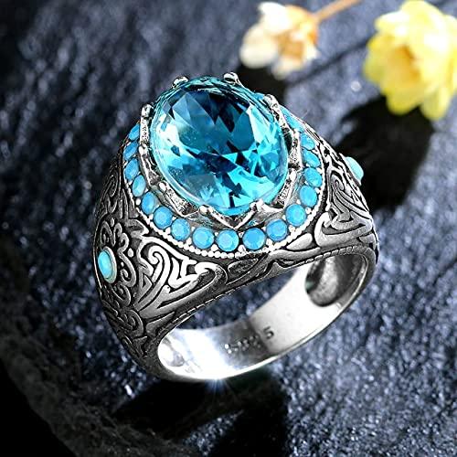 DJMJHG Silberring für Männer mit Oval Blau Zirkon Stein Ring Aquamarin Edelstein Schmuck Männlich Thai Silber Türkischer Schmuck 10 Weiß