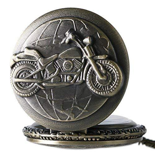 J-Love Reloj de Bolsillo de Cuarzo con diseño de Motocicleta de Bronce 3D para Hombres con Cadena de Cadena Bicicleta Moto Vintage Colgante