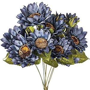 Luyue Artificial Sunflowers Bouquet Fake Vintage Sunflower Autumn Flower for Decoration,9 Floral Heads Faux Flowers Bunch for Home Decor-Vintage Blue