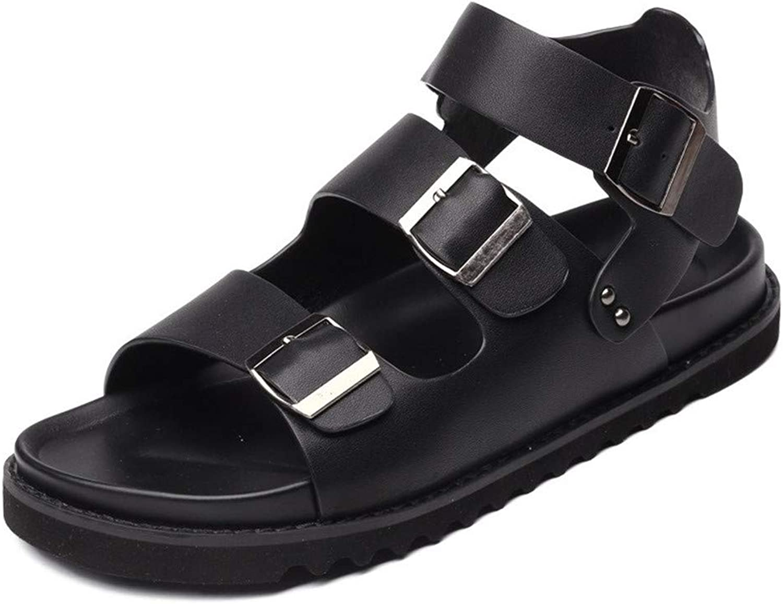 YoiGn Herren Sandale Single Schuhe Stiefelschuhe Erwachsene Mnner Sommer Outdoor Leder Waten Strand Sandalen und Hausschuhe Im Sommer frisch und atmungsaktiv (Farbe   Schwarz, Gre   39 1 3 EU)