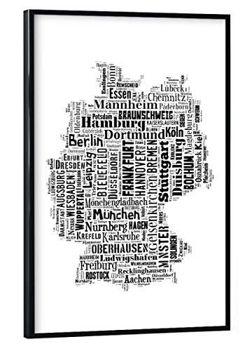 artboxONE Poster mit schwarzem Rahmen 30x20 cm Typografie Deutschland Karte Schwarz - Bild Karte Landkarte Landkarte