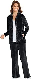 Womens Velour 2 Piece Pant Set Zip Jacket Sparkling Trim with Pants