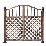 LLZH Puerta de Madera para Valla Exterior Puerta Peatonal del Jardín Puerta Doble,B(Metal Feet),H120*L132cm