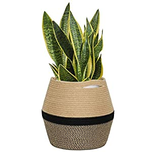 "CHICVITA Jute Rope Plant Basket – Woven Storage Basket for 8in to 11in Plant Pot Floor Indoor Planters, 12"" x 12"" Jute Basket Woven Planter Basket Rope Laundry Basket with Handles for Toys, Clothes"
