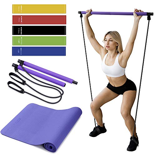 Pilates Bar, Yoga Mat and Resistance Bands Bundle - Complete Fitness and Home Gym Package - Full Body, Arms, Legs, Thighs Exercise Kit for Men,Women - Compact, Lightweight, Portable Workout Equipment