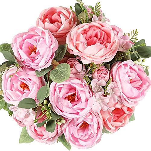 YYHMKB 2 uds.Ramos de Rosas de Seda Vintage de peonía Artificial Flores Falsas para Boda, Mesa de Fiesta en casa, Cocina, Oficina, jardín, Rosa