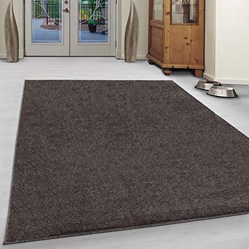 Carpet 1001 Wohnzimmer Teppich Kurzflor Modern Einfarbig Meliert Uni günstig Versch. Farben - Mocca, 120x170 cm