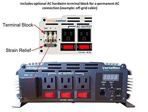 VertaMax Pure SINE Wave 3000 Watt (6000W Surge) 12V Power Inverter DC to 115 AC Car, Solar, Off-Grid, RV, Back Up Power