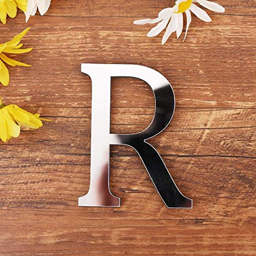 Freeas DIY Alphabet Letters,3D Acrylic Mirror Wall Stickers 26 Letters Heart & Shape Arbitrary Collocation Room Nursery Hanging Decor for Home Office Wedding Party (R)