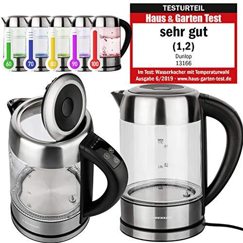 DUNLOP Glas Wasserkocher Teekocher 1,7L Edelstahl mit Temperaturwahl, Warmhaltefunktion, LED Beleuchtung, Farbwechsel nach Temperatur, Vorwahl von 60°-100°C | 100% BPA FREI