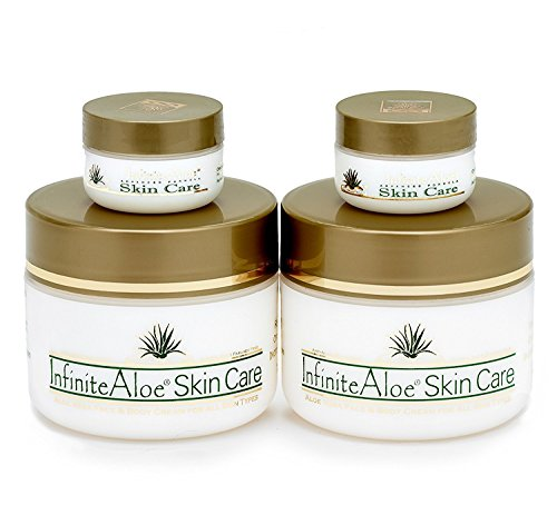 Infinite Aloe Skin Care Cream Original Scent 28oz Jars Plus 2 Bonus 05 oz InfiniteAloe Travel Jars