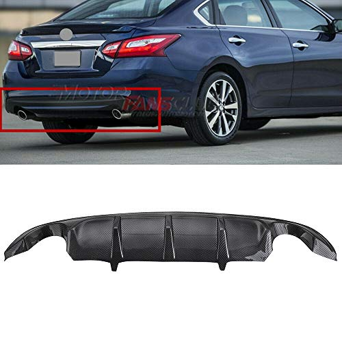 MotorFansClub Exhaust Rear Bumper Diffuser fit for compatible with Nissan Altima 2016 2017 2018, Carbon Fiber