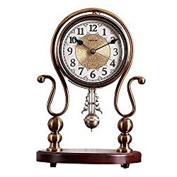 LWLEI Metal Pendulum Clock Mute Battery-Powered Solid Wood Base Quartz Fireplace Clock Desktop Decorative Ornaments Table Clock 34X24CM (Color : Brass)