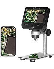1000X LCD digitalt mikroskop, Bysameyee Wifi trådlöst 4,3 tum 1080P bärbart förstoringsglas zoomkamera med 8 LED-lampor uppladdningsbart batteri för mynt samling reparerar lödning